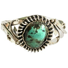 20th Century Navajo 925 Sterling Silver & Turquoise Cuff Bracelet