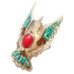 20th Century Navajo Sterling Silver Turquoise & Coral Ring By, Loren Begay