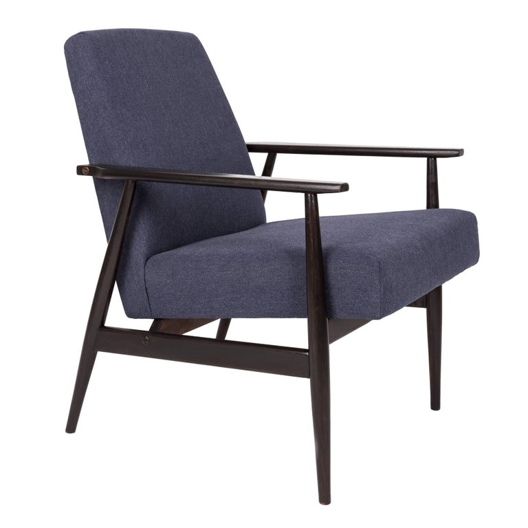 20th Century Navy Blue Denim Armchair, H. Lis, Poland, 1960s