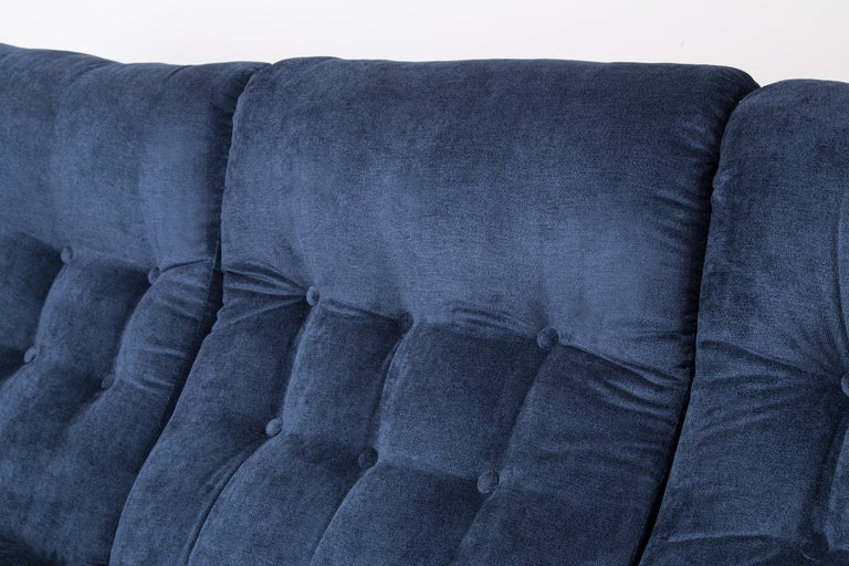 Mid-Century Modern 20th Century Navy Blue Velvet Atlantis Sofa, 1960s For Sale