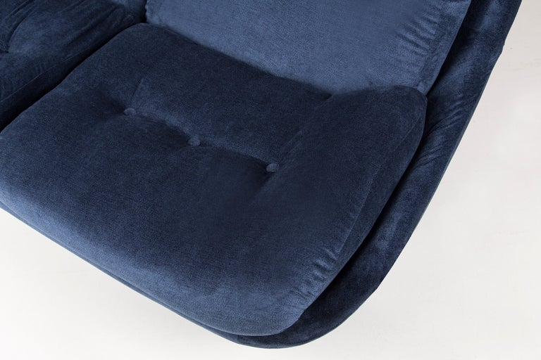 Czech 20th Century Navy Blue Velvet Atlantis Sofa, 1960s For Sale