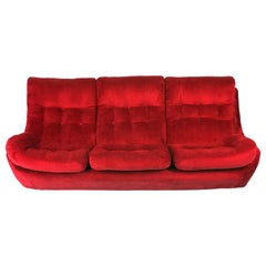 20th Century Navy Red Velvet Atlantis Sofa, 1960s
