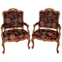 20th Century Neo Baroque Pair of Armchairs, Solid Walnut