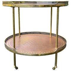 20th Century Neoclassical Brass and Leather Two-Tier Side Table with Gallery