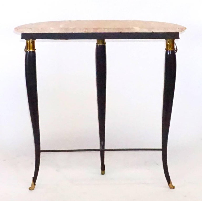20th Century Neoclassical Demilune Console, Italian Side Table by Paolo Buffa In Good Condition For Sale In West Palm Beach, FL
