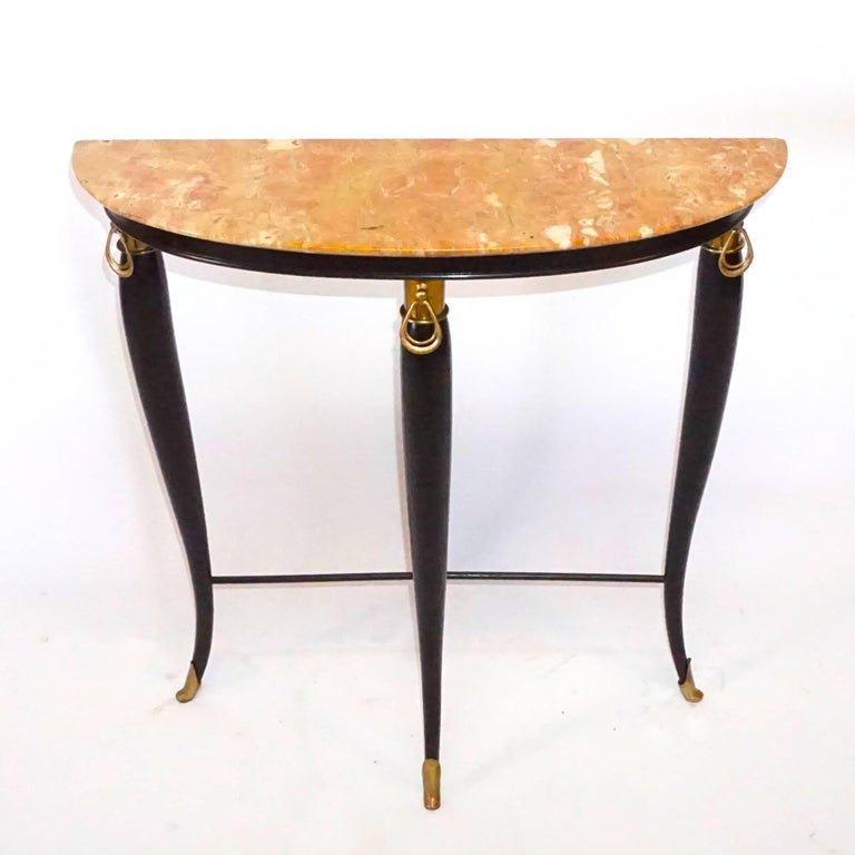 Hand-Carved 20th Century Neoclassical Demilune Console, Italian Side Table by Paolo Buffa For Sale