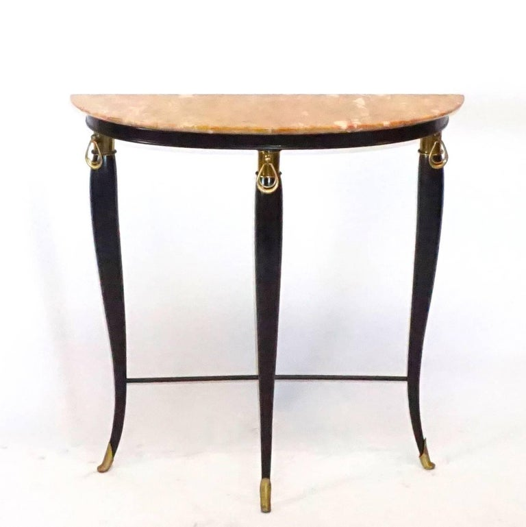 Art Deco 20th Century Neoclassical Demilune Console, Italian Side Table by Paolo Buffa For Sale