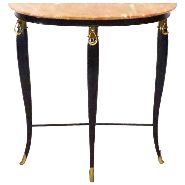 20th Century Neoclassical Demilune Console, Italian Side Table by Paolo Buffa For Sale