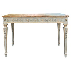 20th Century Neoclassical Frosted Green and Gilt Console with Yellow Marble Top