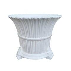 20th Century Neoclassical Glazed Creamware Porcelain Cachepot