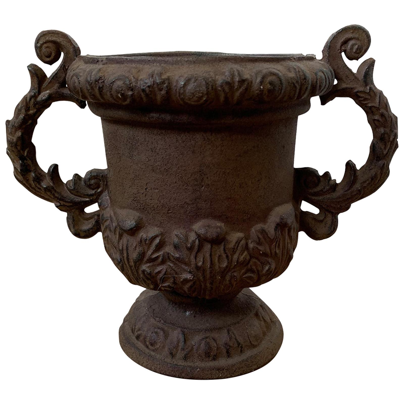 20th Century Neoclassical Iron Urn with Handles