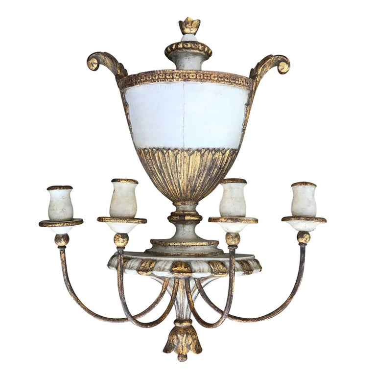 20th Century Neoclassical Urn Four-Arm Sconce, Marked 'Made in Spain'