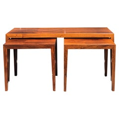 20th Century Nest of Tables, Danish Rosewood Side Tables by Severin Hansen