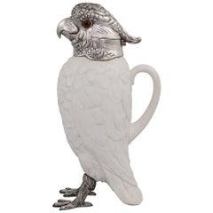20th Century Novelty Cockatoo Solid Silver & Porcelain Claret Jug, c.1927