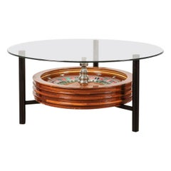 20th Century Novelty Coffee Table with a Working Roulette Wheel