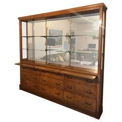 20th Century Oak and Amboyna French Apothecary Vitrine Cabinet, 1920s
