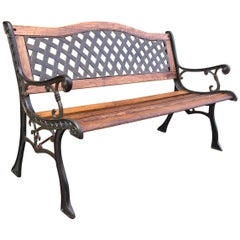 20th Century Oak and Cast Iron Garden or Park Bench