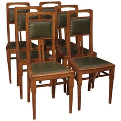 20th Century Oakwood and Green Faux Leather French Art Deco 6 Chairs, 1910