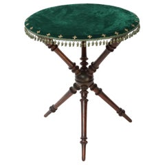 20th Century Occasional Mahogany Table with Green Velvet Top with Gilt Crosses