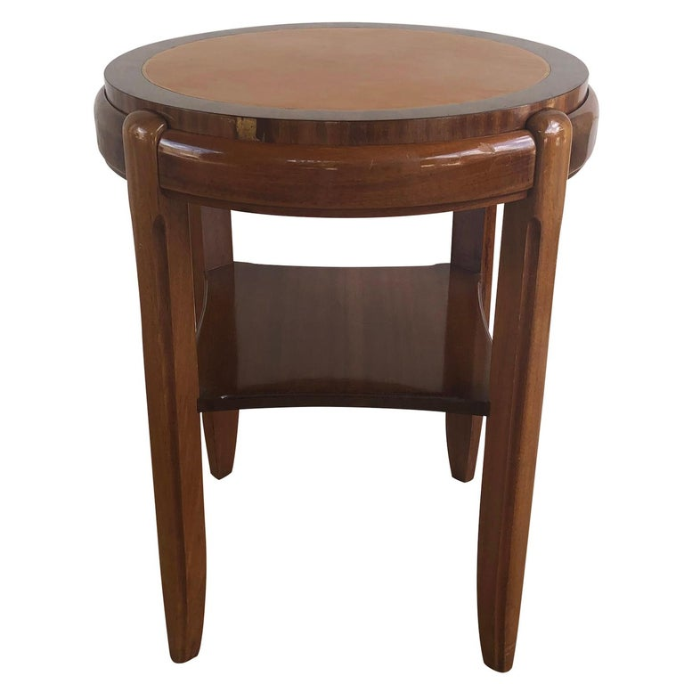 Hand-Carved 20th Century Occasional Round Art Deco Side Table, Small Italian End Table For Sale