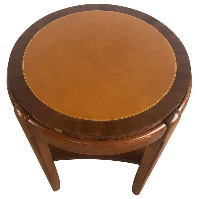 Leather 20th Century Occasional Round Art Deco Side Table, Small Italian End Table For Sale