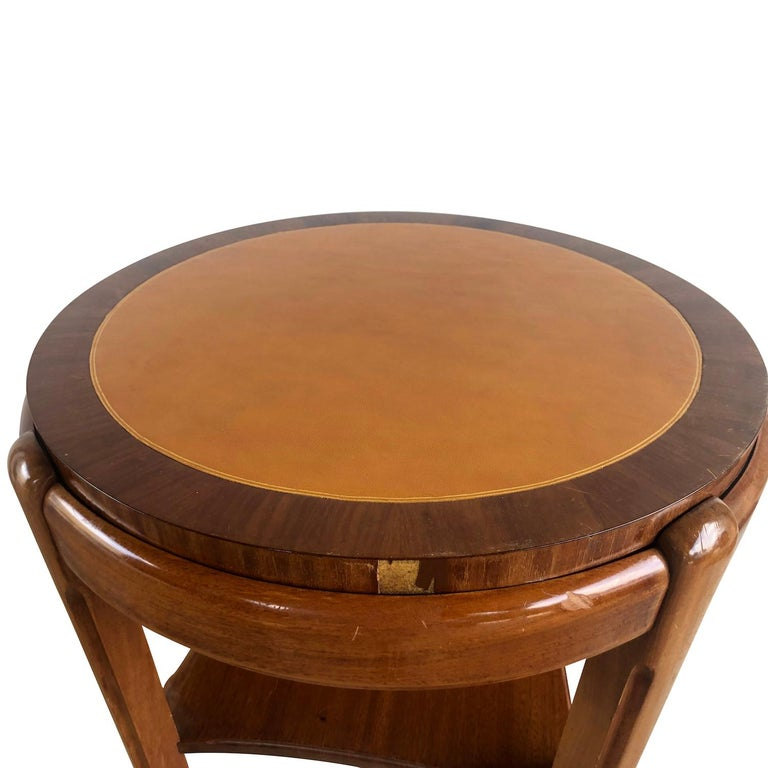 20th Century Occasional Round Art Deco Side Table, Small Italian End Table For Sale 2