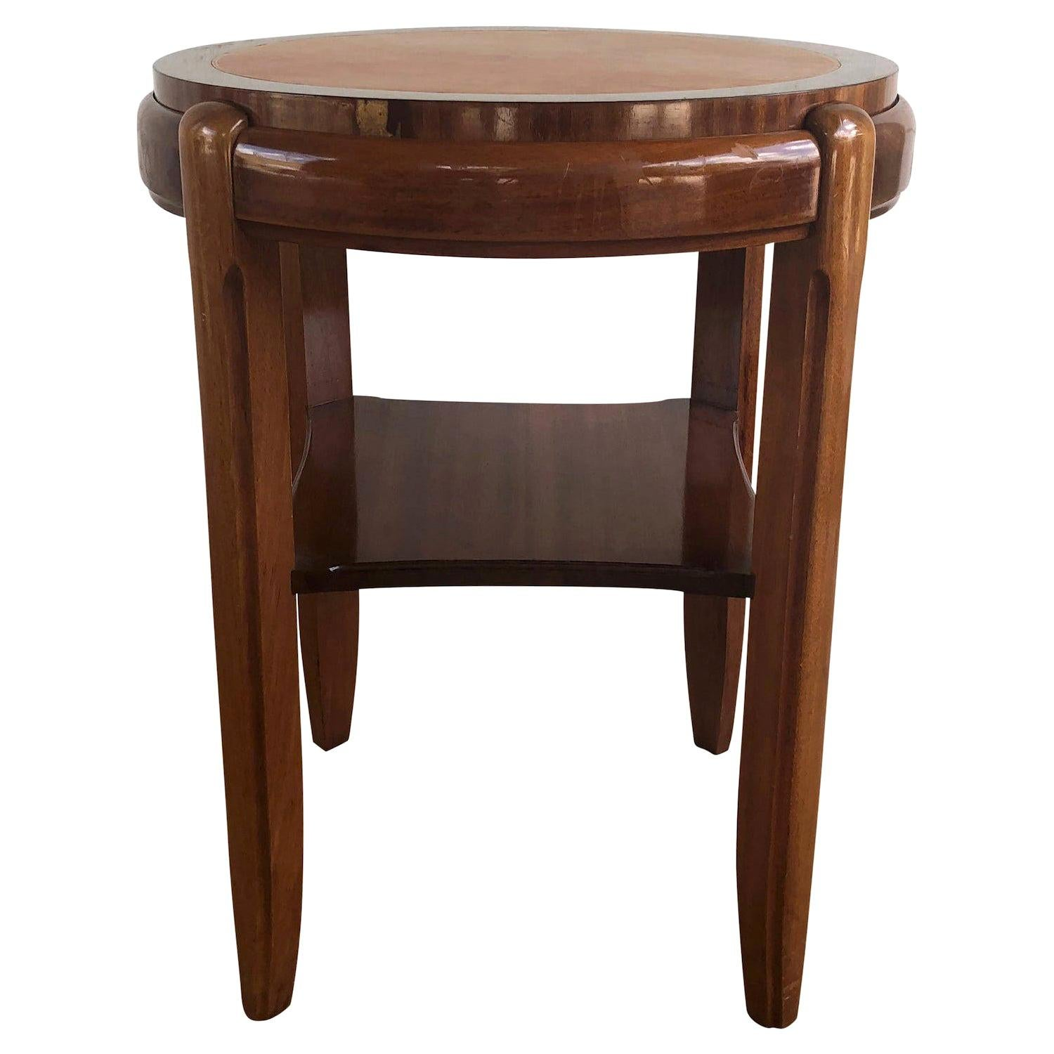 20th Century Brown Occasional Round Art Deco Side Table, Small Italian End Table