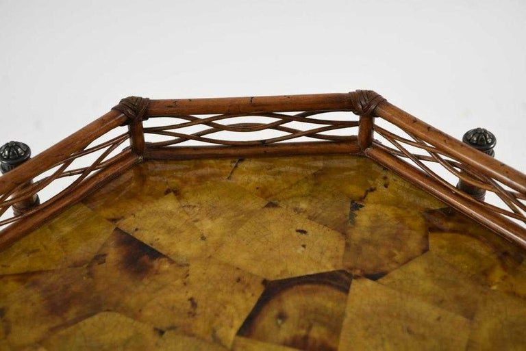 Wood 20th Century Octagon Faux Bamboo End or Side Table For Sale