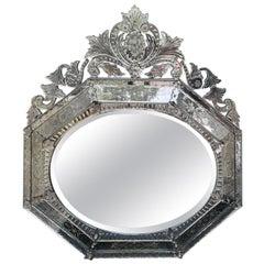 20th Century Octagonal Venetian Style Mirror, Horizontal