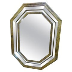 20th Century Octoganal Iron Double Framed Wall Mirror