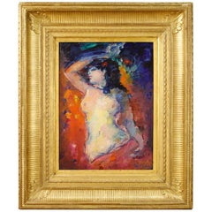 20th Century Oil on Board French Signed Female Nude Painting, 1960