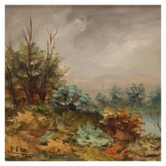 20th Century Oil on Board Impressionist Style Italian Landscape Painting, 1960
