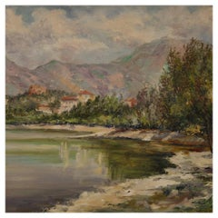 20th Century Oil on Board Italian Signed and Dated Landscape Painting, 1948