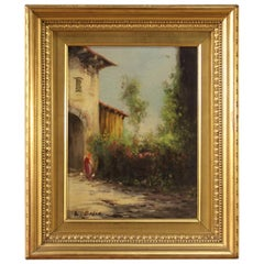 20th Century Oil on Board Italian Signed Painting Landscape, 1950