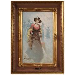 20th Century Oil on Canvas Belle Époque Style Italian Painting Portrait, 1980
