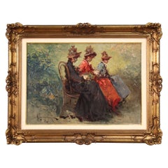 20th Century Oil on Canvas Belle Époque Style Italian Painting The Ladies, 1970