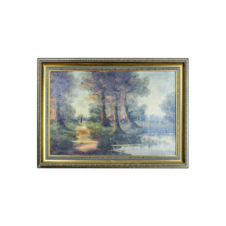 20th Century Oil on Canvas Depicting the Forest Landscape