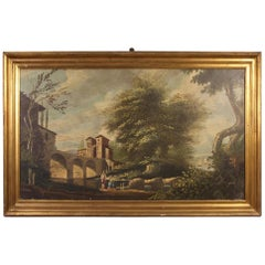 20th Century Oil on Canvas Dutch Landscape Painting with Characters, 1950