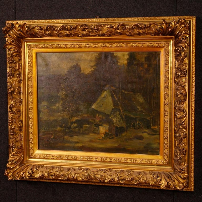 20th Century Oil on Canvas Dutch Signed Forest Landscape Painting, 1920 For Sale 7
