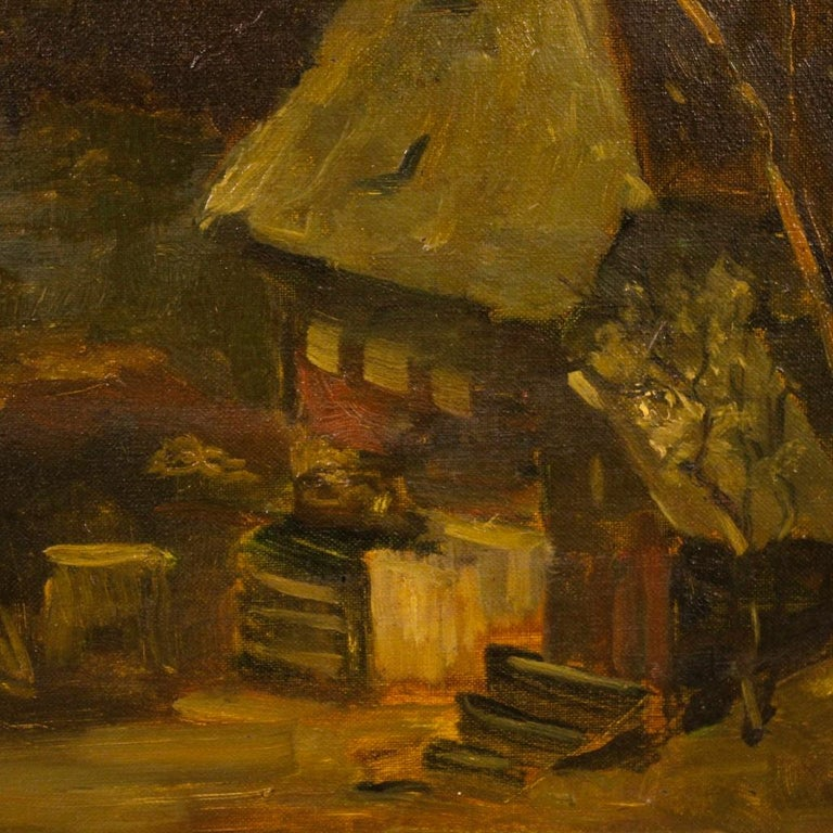 20th Century Oil on Canvas Dutch Signed Forest Landscape Painting, 1920 In Fair Condition For Sale In Vicoforte, Piedmont