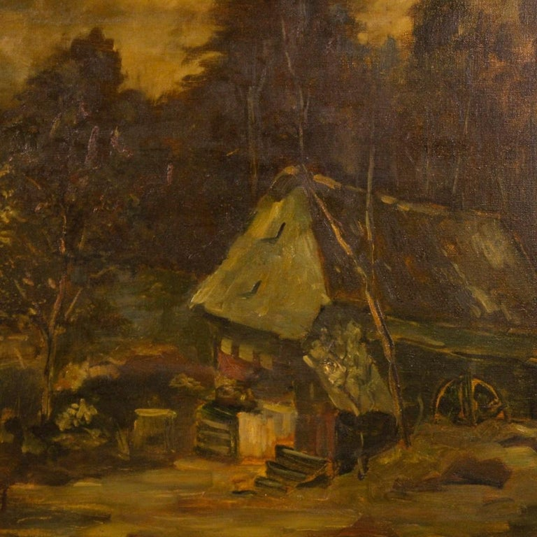 Early 20th Century 20th Century Oil on Canvas Dutch Signed Forest Landscape Painting, 1920 For Sale