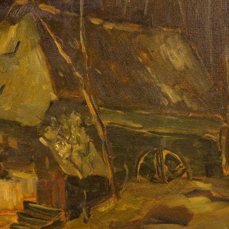 20th Century Oil on Canvas Dutch Signed Forest Landscape Painting, 1920 For Sale 1
