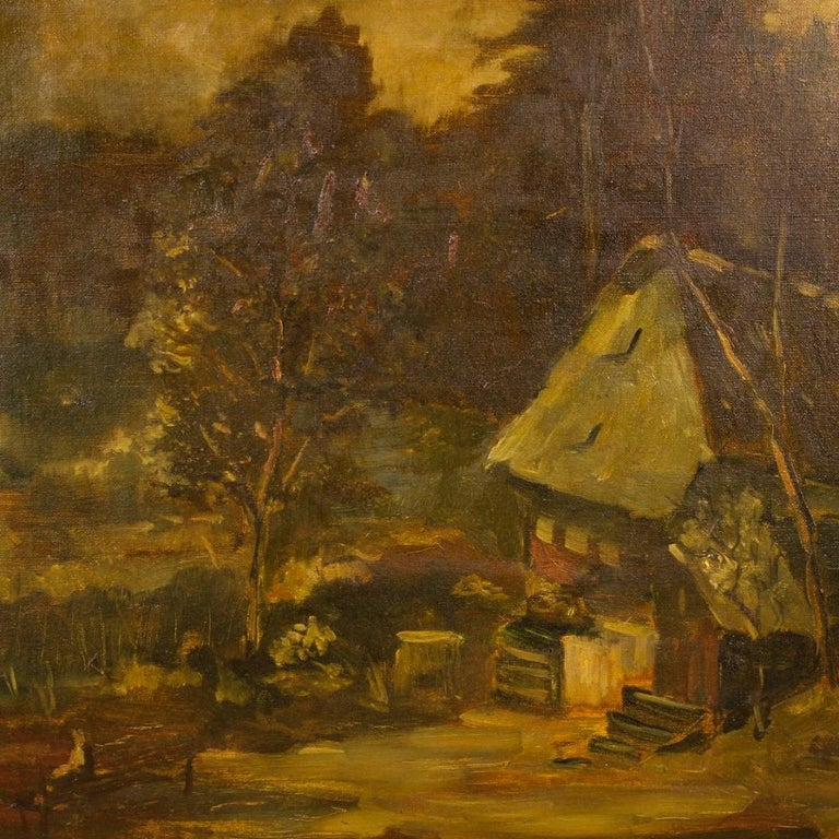 20th Century Oil on Canvas Dutch Signed Forest Landscape Painting, 1920 For Sale 2