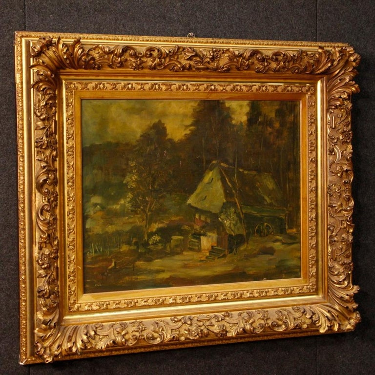 20th Century Oil on Canvas Dutch Signed Forest Landscape Painting, 1920 For Sale 3
