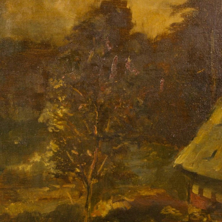 20th Century Oil on Canvas Dutch Signed Forest Landscape Painting, 1920 For Sale 5