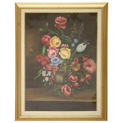 """20th Century Oil on Canvas """"Flowerpot"""" Italian Painting with Frame, Signed"""