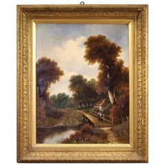 20th Century Oil on Canvas French Landscape Signed Painting, 1930