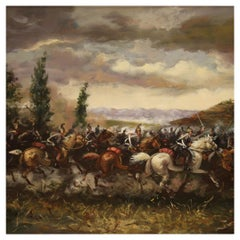 20th Century Oil on Canvas French Painting Battle Knights and a Hill Town, 1980