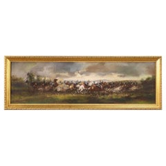 20th Century Oil on Canvas French Painting Battle Knights on Horseback, 1980