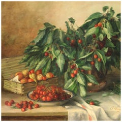 20th Century Oil on Canvas French Painting Still Life, Vase with Cherries, 1930